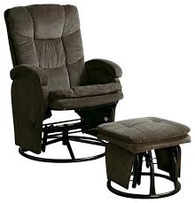 glider recliner for nursery 2 coaster recliners with ottomans reclining glider in chocolate
