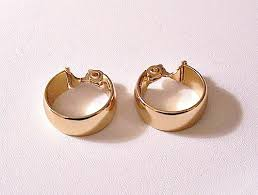 gold clip on earrings monet wedding band clip on hoop earrings wide smooth gold tone