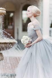 dusty wedding dress tulle shoulder dusty blue wedding dress deer pearl flowers
