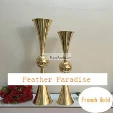 Trumpet Vases Wholesale Discount 29 Inches Reversible Gold Metal Trumpet Vases Bulk