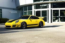 yellow porsche side view speed yellow porsche 911 gt3 with satin black strasse wheels