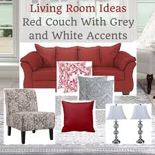 living room ideas red couch with grey and white accents home