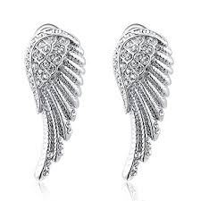 wing earrings women s white gold angel wings stud earrings jewelry