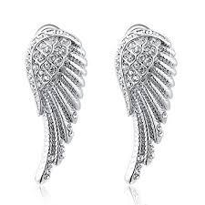 angel wing earrings women s white gold angel wings stud earrings jewelry