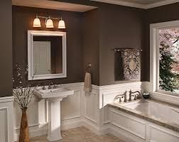 Bathroom Wall Colors Ideas Half White Tiles With Contrast Brown Wall And White And Brown