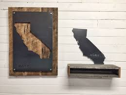 wall decor made of wood buy a handmade california home state steel on reclaimed wood wall