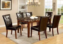 furniture of america mawson faux marble 6 piece dining table set