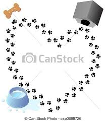 stock illustration puppy love paw prints trail puppy love