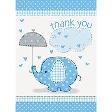 baby shower thank you cards blue elephant boy baby shower thank you cards 8ct