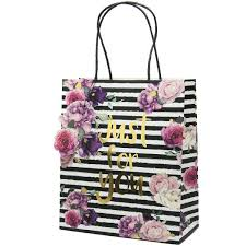 black and white striped gift bags just for you black and white striped floral gift bag large