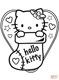 hello kitty in christmas sock coloring page free printable