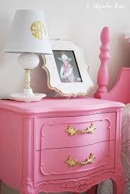 Pink Nightstand Side Table Little U0027s Room Decorated In Pink White U0026 Gold Pink White