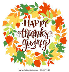 happy thanksgiving fall background wreath stock vector
