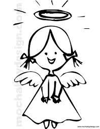 printable christmas angel smiling coloring mochabaydesign
