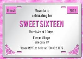 sweet 16 invitations sweet 16 license plate birthday party invitations candles and favors
