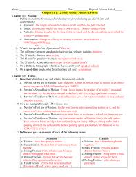 unit 2 motion and forces study guide with answers