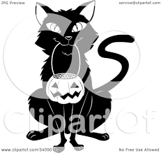 clipart illustration of a black cat sitting and carrying a pumpkin