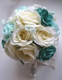 teal flowers silk flower centerpiece foter