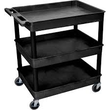 rubbermaid service cart with cabinet luxor 32 x 24 three shelf utility cart black tc111 b b h