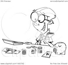 clipart of a cartoon black and white young accountant boy counting