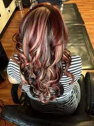 dark brown hair with blond highlights red and blonde highlights in dark hair love this hair
