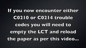 how to correctly load a pc 410 with paper error codes c0210 or