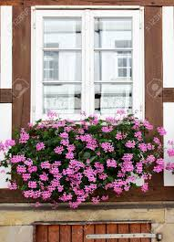 windows of old house with flowers germany stock photo picture