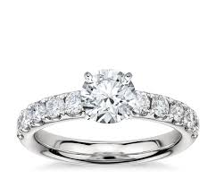 3 engagement ring riviera pavé engagement ring in platinum 3 4 ct tw