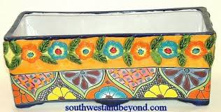 Rectangular Terracotta Planters by Mexican Talavera Pottery Planters