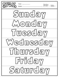 days of the week and months of the year reference sheet kids