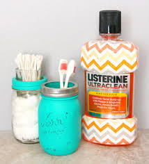 painted mason jar bathroom set