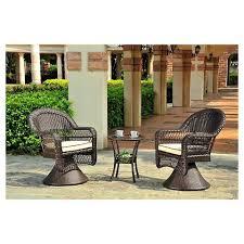 Patio Furniture Swivel Chairs Charleston 3 Piece Wicker Patio Swivel Chair Chat Set