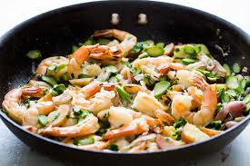 Asparagus Dishes Main Course - skillet shrimp and asparagus recipe simplyrecipes com