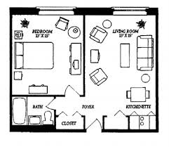 Studio Apartment Floor Plans Chic One Apartment Floor Plans With Small Interior Equipped With