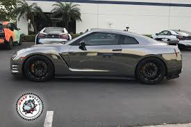 chrome wrapped cars avery black chrome nissan gtr car wrap wrap bullys