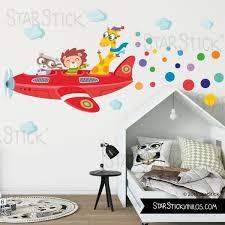 stickers animaux chambre bébé avion avec animaux sticker muraux chambre bébé