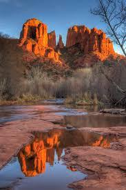 Cathedral Rock Reflections At Sunset Red Rock Crossing Cathedral Rock Sedona Arizona By Charlie Stinchcomb Picsmaza
