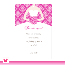etsy designing bridal shower thank you card awesome finishing pink