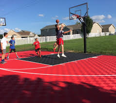 outdoor basketball court home gym contemporary with ceiling fan