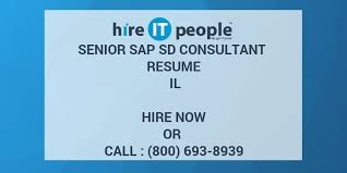 Sample Resume For Sap Sd Consultant by Senior Sap Sd Consultant Resume Il Hire It People We Get It Done