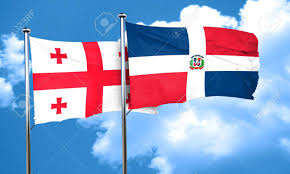 Georgia Flag Georgia Flag With Dominican Republic Flag 3d Rendering Stock