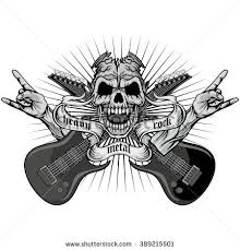 rock roll skull guitar drawing stock vector 285034007