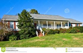 brick and wood ranch style home royalty free stock photo image