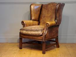Leather Wing Back Chairs Furniture Good Looking 20c Leather Wing Armchair Photo Of New On
