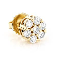 studs for mens mens diamond cluster earring 14k gold 1 2ct single stud