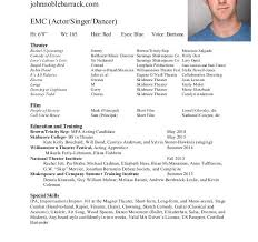 acting resume special skills examples musical theatre resume