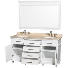 Berkeley  Inch White Finish Double Bathroom Vanity With White - Bathroom vanities clearance canada