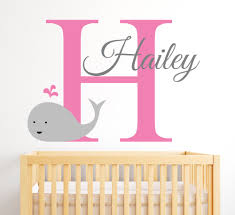 name wall decal whale cute pattern with custom personalized baby