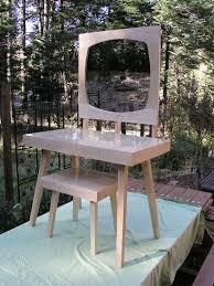 Modern Mirrored Vanity Table Set Mid Century Style Maple - Bathroom vanity tables