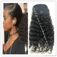pics of black woman clip on hairstyle kinky curly ponytail for black women natural afro curly non remy